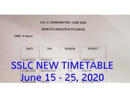 SSLC Examination Timetable 2020