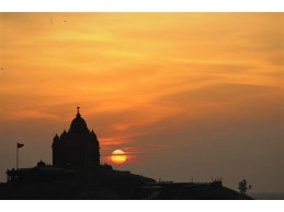 Sunrise and Sunset in Kanyakumari